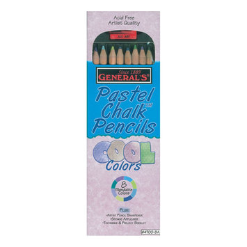 General Pencil Company Inc Pastel Chalk Pencils 8/Set W/Sharpener-Cool