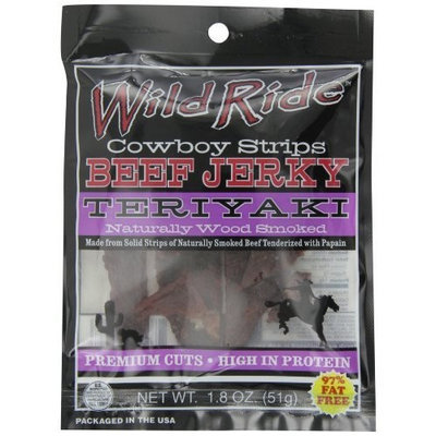 Wild Ride Beef Jerky Cowboy Strips, Teriyaki , 1.8-Ounce Bags (Pack of 6)