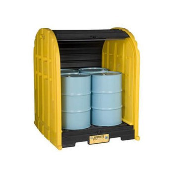 Justrite Covered Drum Spill Containment Pallet (Black/Yellow). Model: 28676
