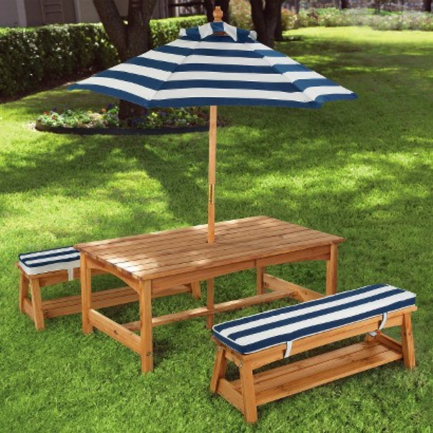 Kidkraft KidKraft Outdoor Table and Chair Set with Navy Stripes Cushions