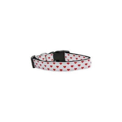 Ahi White and Red Dotty Hearts Nylon Dog Collars Large