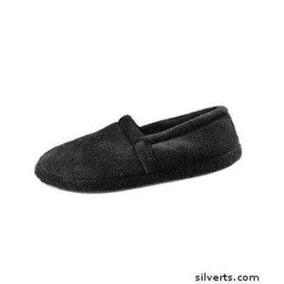 Silvert's Silverts 510600302 Most Comfortable Terry Fleece - Memory Foam Bedroom Slipper for Mens Black - Medium
