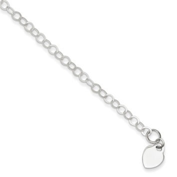 True Life Fly Company Sterling Silver Heart Charm Childs Bracelet - 6 Inch - Lobster Claw