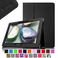 Fintie Folio Leather Case Cover with Auto Sleep / Wake Feature for Lenovo IdeaTab S6000 10.1-Inch Android Tablet, Black