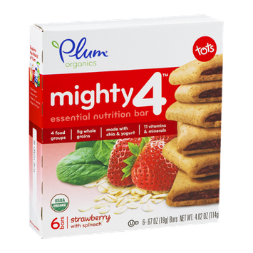 Plum Organics Mighty 4 Essential Nutrition Bar Strawberry With Spinach - 6 CT