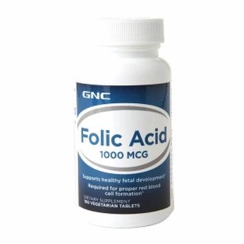 GNC Folic Acid 1000mcg, Vegetarian Tablets, 100 ea
