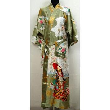 Shanghai Tone® Geisha Kimono Robe Sleepwear Yukata Green One Size