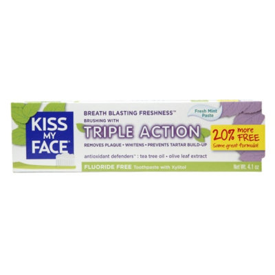 Kiss My Face Triple Action Fluoride-Free Natural Toothpaste with Xylitol, Fresh Mint, 4.1 oz