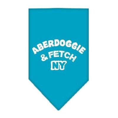 Mirage Pet Products Aberdoggie NY Screen Print Bandana for Pets, Large, Turquoise