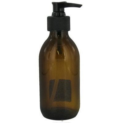 Sanctum Aromatherapy - Amber Glass Bottle with Black Lotion Pump & Cap - 200 ml.