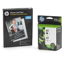 HP 61 Combo Inkjet Ink Cartridge with Bonus Photo Cards, Envelops, Photo Paper, and Project Booklet Value Bundle