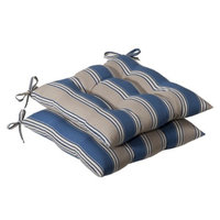 Pillow Perfect Outdoor 2-Piece Tufted Chair Cushion Set - Blue/Beige Stripe