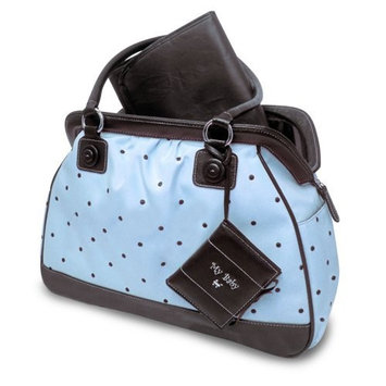 Baby Essentials Embroidered Dot Diaper Bag, Blue (Discontinued by Manufacturer)