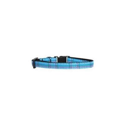 Ahi Plaid Nylon Collar Blue Cat Safety