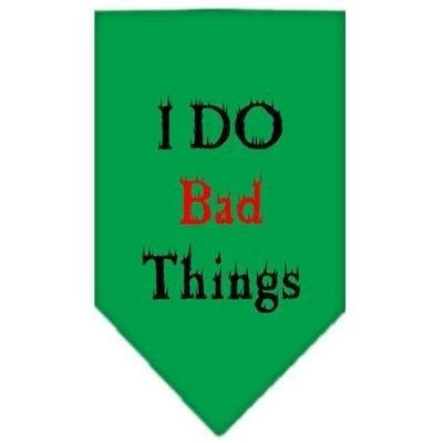 Mirage Pet Products 6631 LGEG I Do Bad Things Screen Print Bandana Emerald Green Large