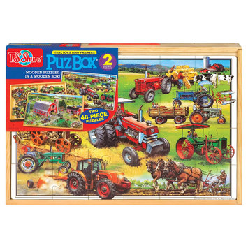 T.s. Shure American Tractor Jumbo Wooden Puzzle in Wood Box Set