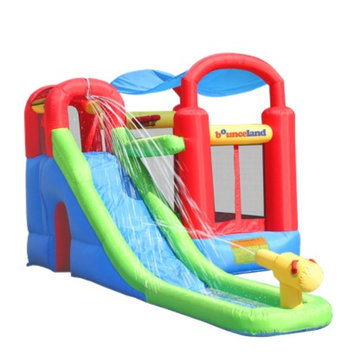 Bounceland Wet or Dry Inflatable Bounce House With Ballpit - Red/