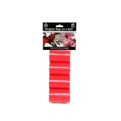 Doggie Walk Bags Designer Refill Bags, Red/Floral, 4 Rolls