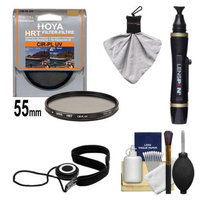 Hoya 55mm HRT Circular PL Polarizer UV Multi-Coated Glass Filter + Accessory Kit for Canon, Nikon, Sony, Olympus & Pentax Lenses
