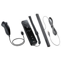 Nintendo Wii and Wii U Remote Plus with Jacket, Nunchuk and Sensor Bar - Black