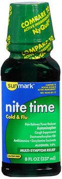 Sunmark Nite Time Cold Flu Liquid, 8 oz by Sunmark