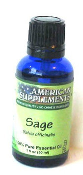 Sage Essential Oil No Chinese Ingredients American Supplements 1 oz Oil