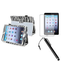 Insten iPad Mini 3/2/1 Case, by INSTEN Black Zebra Leather Case Cover+AG Protector/Pen for iPad Mini 3 2 1