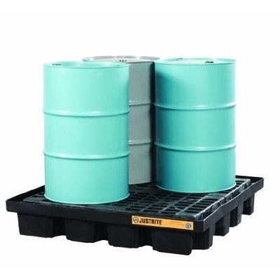 JUSTRITE 28673 Drum Spill Cntnmnt Pallet,4 Drum,5k lb.
