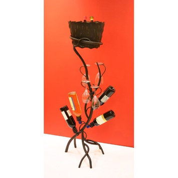 Creative Creations A167WS-FA Art Deco Four Bottle Floor Wine/Glass Holder with Removable Ice Bucket