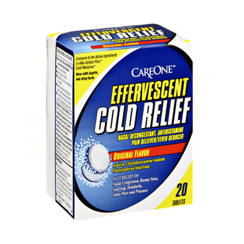 CareOne Effervesscent Cold Relief Original Flavor Nasal Decongestant, Pain Reliver/Fever Reducer - 20 CT