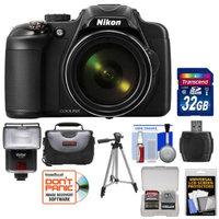Nikon Coolpix P600 Wi-Fi Digital Camera (Black) with 32GB Card + Case + Tripod + Flash + Kit