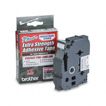 Brother International Brother Laminated Adhesive Tape, 3/4, Black on Silver