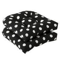 Pillow Perfect Outdoor 2-Piece Wicker Chair Cushion Set - Black/White Polka Dot