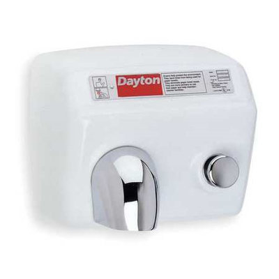 DAYTON 4ZA64 Hand Dryer, White, 15 sec, 20 Amps, 238 CFM