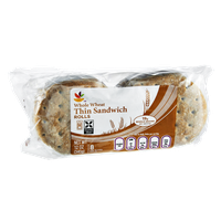 Ahold Whole Wheat Thin Sandwich Rolls - 8 CT