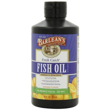 Barlean's Organic Oils, Fresh Catch Fish Oil, Orange Flavor, 8 oz, Pack of 2