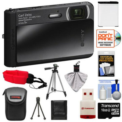 Sony Cyber-Shot DSC-TX30 Shock & Waterproof Digital Camera (Black) with 16GB Card + Battery + Case + Floating Strap + Tripod + Accessory Kit