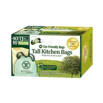 Green 'n' Pack Green N Pack 13 Gallon Drawstring Bag, Tall Kitchen Trash Liners (Lemon-Scent-40-Count (Pack of 6))