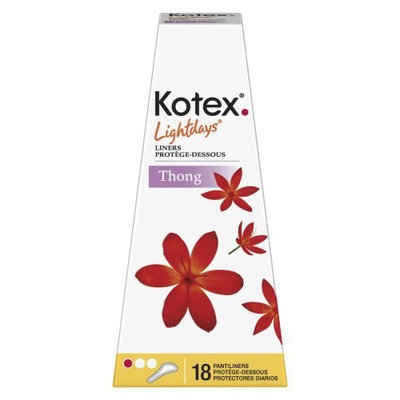 Kotex Lightdays Thong Liners, 18-Count Packages (Pack of 18)