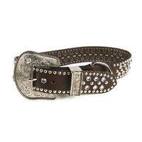 Zuri Collection 082045091380 Brown Leather Collar, Lt. Blue Swarovski Crystal Me