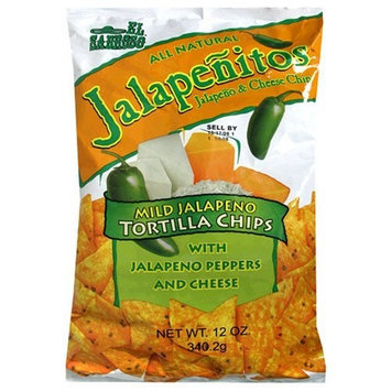 El Sabroso Jalapenitos, Jalapeno Peppers and Cheese Tortilla Chips, 12-Ounce Packages (Pack of 12)