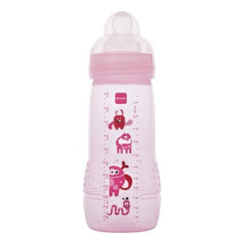MAM Single Pack Baby Bottle, 4 Months, 11 Ounce, Colors May Vary