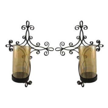Zeckos Pair of Metal and Glass Christian Cross Hurricane Candle Sconces
