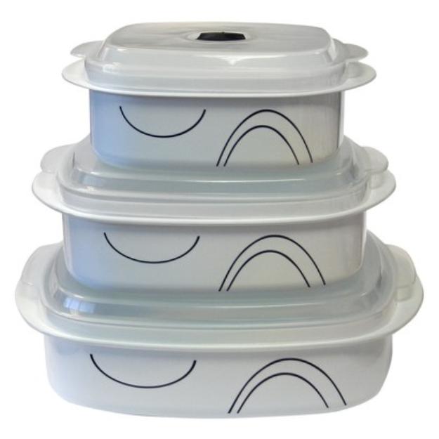 Corelle Coordinates Microwave Cookware Set of 6 - Simple Lines