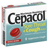Cepacol Maximum Numbing Instant Relief Sore Throat Lozenges and Cough Relief-Mixed Berry-18 ct