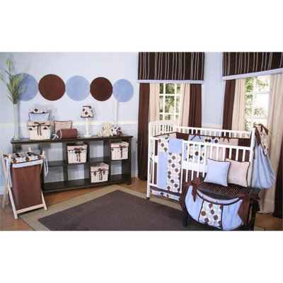 Brandee Danielle Minky Blue Chocolate Polka Dot 4 Piece Crib Bedding Set