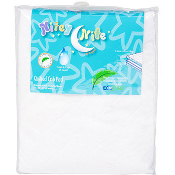 Nitey Nite - Waterproof Fitted Quilted Crib Pad, White