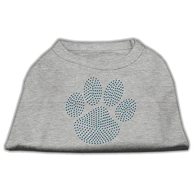Mirage Pet Products 5254 LGGY Blue Paw Rhinestud Shirt Grey L 14