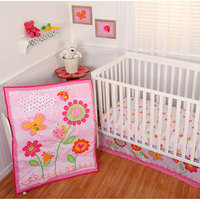 Sumersault - Garden Girl 4pc Crib Bedding Collection - Value Bundle
