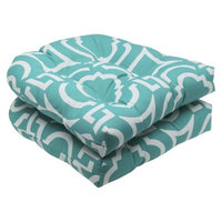 Pillow Perfect Outdoor 2-Piece Wicker Seat Cushion Set - Blue Green/White Carmody